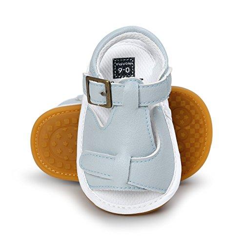 BOBORA Bebe Filles Garcons Chaussures D'ete Soft Sandales en cuir PU pour 0-18M Light Bleu