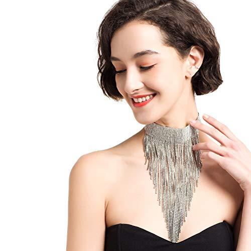 Prom Paar Outfit Ideen - Aussage Halskette für Frauen Silber Quaste
