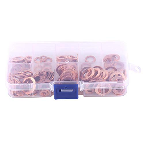 1 Kasten 200 pcs M5-M14 Kupfer Unterlegscheibe Dichtung Flach legen Ring mit Aufbewahrungsbox