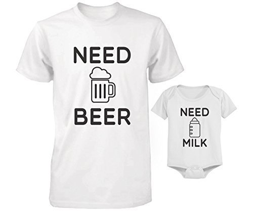love Need Beer and Need Milk – Juego de Camiseta y Body a Juego para bebé y papá - Blanco - Adulto (X-Large)-bebé (6 Meses)
