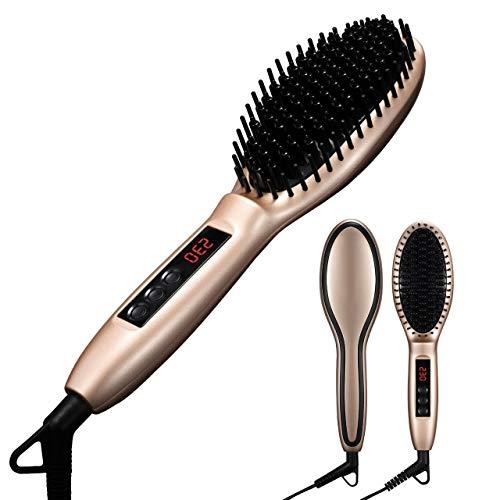 Stylingbürste ATMOKO Elektrische Haarglätter keramik Bürste Glätteisen Anion Antistatische Haarpflege mit Warmluft und LCD (Golden