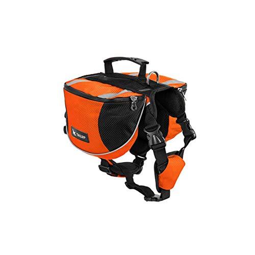 LHY TRAVEL Verstellbarer Hunderucksack mit Satteltaschen, Hundesatteltasche, 2-in-1-Rucksack - Ideal zum Wandern in Orange,M