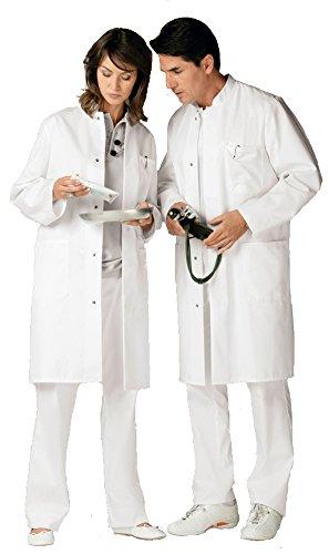 clinicfashion Visitenmantel Mantel weiß Unisex für Damen und Herren, Stehkragen, Baumwolle, Größe XXS-XXXL Weiß