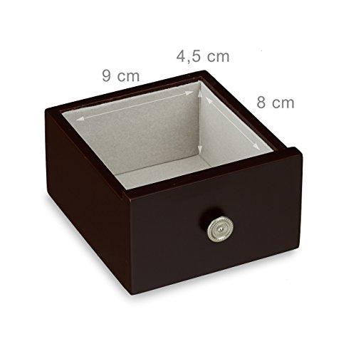 Relaxdays Schmuckkästchen mit Tür HxBxT: ca. 30 x 26 x 11 cm großer Schmuckkasten mit 4 Fächern Schmuckschrank aus Holz mit Schubladen und Spiegel Schränkchen mit Schmuckhalter für Ketten, dunkelbraun - 5