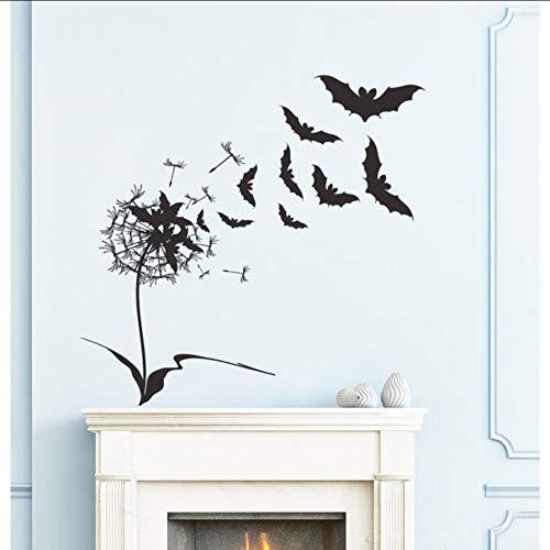 Wsxwga progettato pipistrelli volanti con decalcomanie della parete del fiore per la decorazione speciale di casa di halloween felice poster wall sticker 56 * 56cm