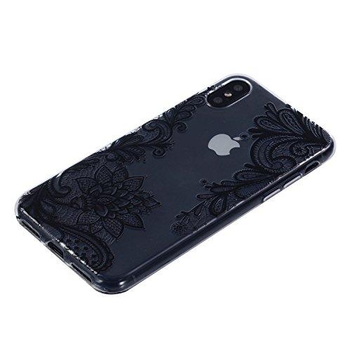 iPhone X Hülle, Voguecase Silikon Schutzhülle / Case / Cover / Hülle / TPU Gel Skin für Apple iPhone X(Specht) + Gratis Universal Eingabestift Lace Blume 09/Sahwarz