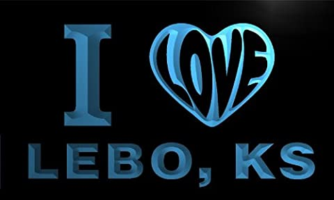 v56309-b I Love LEBO, KS KANSAS City Limit Neon Light Sign
