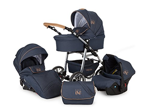 *Lux4Kids Kinderwagen Set Babywanne Sportsitz Babyschale Wickeltasche Matratze 3in1 VIP Luxus Made in EU Easy One Blau & Jeans*