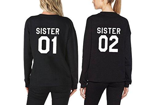 Couples Shop Sister Damen Kapuzenpullis Beste Freunde Hoodies Langarm Kapuzenpullover Sweatshirt Pullover Tops Bluse Kapuzen 2 Stücke (Schwarz + Schwarz, 01-XXXL + 02-M) (2 Pullover Stück)