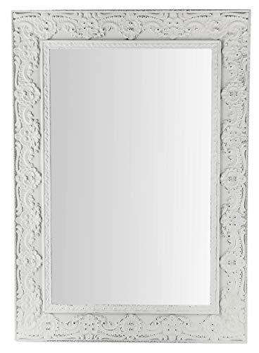 My-goodbuy24 Wandspiegel mit Ornamenten | 38 x 27 cm | Spiegel | Holz | Schminkspiegel | zum Hängen | Vintage-Stil (Weiß)