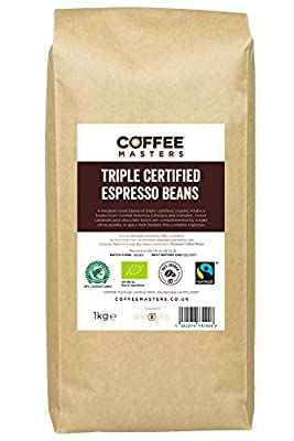 Coffee Masters Triple Certified, Organic, Fairtrade, Arabica Coffee Beans 1kg from Coffee Masters