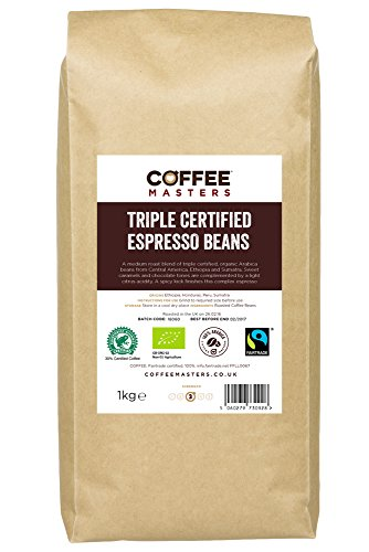 Coffee Masters Triple Certified, Organic, Fairtrade, Arabica Coffee Beans 1kg