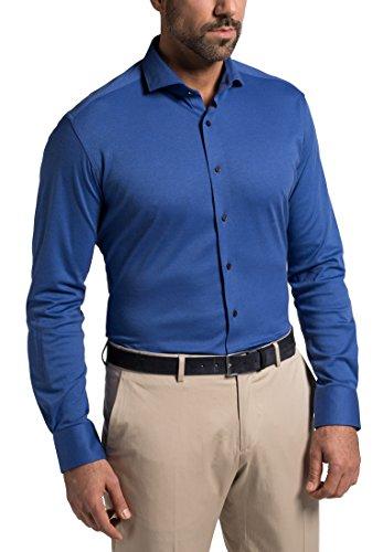 Eterna Long Sleeve Shirt Modern Fit Jersey Uni Blu