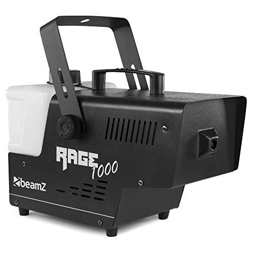 Beamz Rage 1000 Nebelmaschine mit Fernbedienung - 1000 Watt, Ausstoßvolumen: 125 m³ pro Minute, Tankvolumen: 2 Liter, Aufheizzeit: 4 Minuten, Nachheizzeit: 1 Minute, Funk- und Kabelfernbedienung
