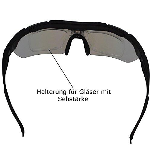 ONVAYA Polarisierte UV400 Sportsonnenbrille mit 5 13 Teilig Sportbrille Radbrille Sonnenbrille mit 5 Wechselgläsern, Grau, One Size - 6