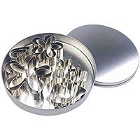 BESTONZON - Juego de 12 moldes de acero inoxidable para galletas con forma de flor y