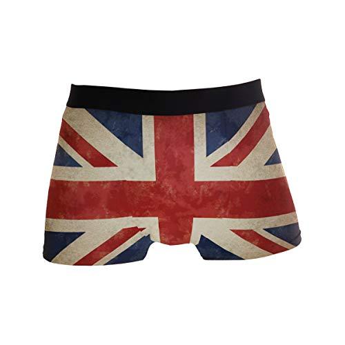 ALARGE Herren Boxershorts, Vintage, britische Flagge, Kurze Unterwäsche, weiche Stretch-Unterhose für Männer und Jungen, S-XL Gr. S, Multi - Union Lange Unterwäsche