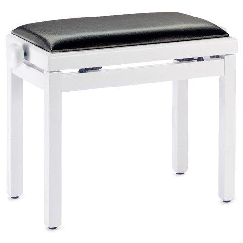 Stagg 21268 hohenverstellbare Klavierbank (49-59 cm, Sitzfläche gepolstert, Kunstleder 55x32 cm) weiß/matt - Kunstleder Gepolsterte Sitzfläche