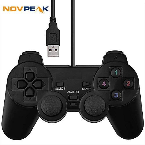 Novepak USB Dual Shock Joystick Gamepad Wired Gaming Controller [Double Vibration Feedback Motors] für PC Computer Laptop Fenster (schwarz) - Treiber-fenster Motor