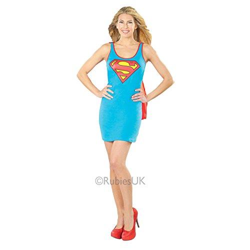 Damen Supergirl Rubies Kostüm Neue Kostüm Erwachsene Superheld Party Outfit - Supergirl, 40-42 (Supergirl Tank Kleid)