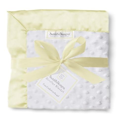 SwaddleDesigns Stroller Blanket, Plush Dots and Yellow Baby Velvet