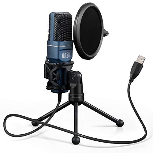 TONOR PC Microfono USB Condensatore per Computer Gioco Mic Plug & Play con Treppiede e Filtro Pop per Registrazione Vocale Podcasting Streaming Video