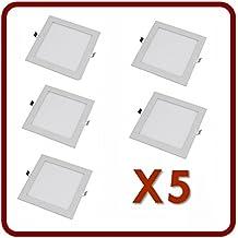 PACK 5 Downlight panel led blanco cuadrado 18W (cálido 3000k)