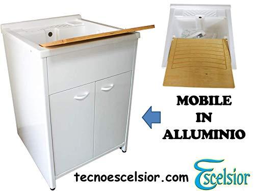 Mobile lavatoio per lavanderiaPREMIUM alluminio diverse misure H83 + sifone omaggio bianco da esterno lavatoio resina top line moderno. Escelsior