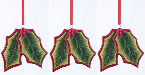 Set von 3?Keramik Holly Berry Ivy Weihnachten Dekorationen zum Aufh?ngen Holly Keramik