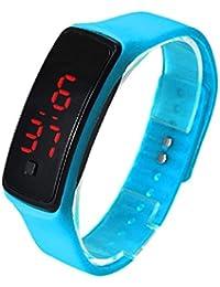Sannysis® Ultra Thin reloj deportivo; LED silicona reloj de pulsera deportivo (azul)