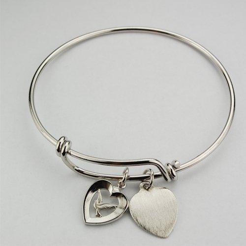 Heiligen Geist Taube Herz Faith Armreif Armband Medaille Herz Charme Zinn Youth 21/5,1cm Durchmesser