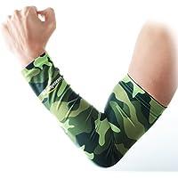 COOLOMG (Coppia) per giovani/Adulti imbottita braccio Maniche Protector Gear Basket Baseball Calcio 10Color 6Size, Camouflage Green, XS