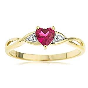 Kareco 9ct Yellow Gold Created Ruby And Diamond Ring - Size L