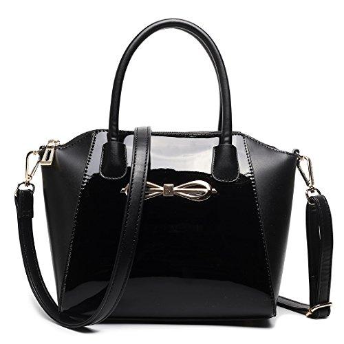 Miss LuLu Modern Damentasche Winged Bürotasche Hobo Bag Handtasche Groß PU-Leder Multifunktion (E1639-Blumen/Pink) E1639-Schwarz