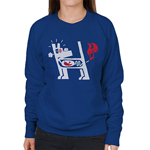 Mambo Farting Chili White Dog Women's Sweatshirt Royal Blue