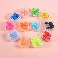 Tapones de Oídos de Colores,12 Pack Cancelación de Ruido Tapones de Oídos de Silicona Impermeables Reutilizables de Tapones para Dormir Natación Aviones Viajes