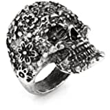 Decorative Gray Skull Head Accent Finger Ring for Lady