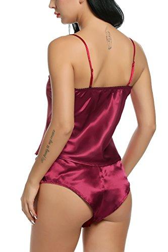 Avidlove Damen Negligee Sexy Satin Nachtwäsche Dessous Set Kurz Schlafanzüge Träger Nachthemd Babydoll Rückenfrei Pyjama mit Spitze Weinrot078