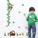 XCGZ Wandsticker Höhe Maßnahme Wandaufkleber Für Kinderzimmer Baum Vögel Blume Schmetterling Messlatte Kindergarten Wohnkultur