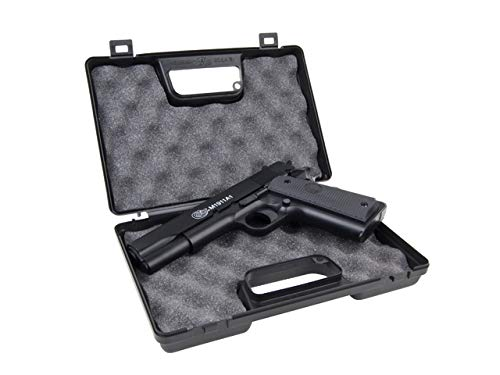 KOSxBO® Set Pistole Colt 1911 A1 H.P.A. Metallschlitten inklusive Elite Muniton inklusive KOS24 Zielscheiben und Waffenkoffer - Federdruck - 0,5 Joule - 6mm BB - Originalgetreu 1:1