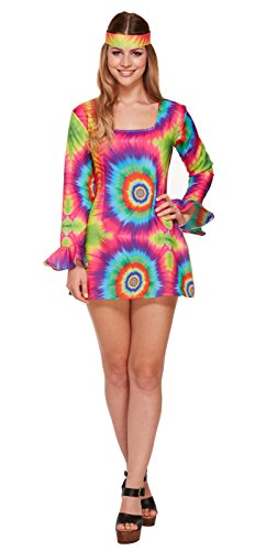 ippie Tie Dye Girl 1960 Retro Damen Fancy Kleid Outfit ()