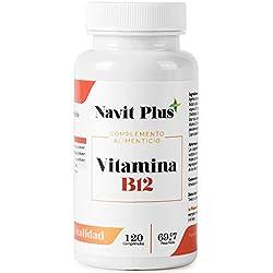 Vitamina B12 de Navit Plus, 120 comprimidos. Complemento alimenticio a base Vitaminas B1, B2, B3 y B6, esenciales para el óptimo cuidado de la salud. Complejo vitamínico natural. Alta dosis por cápsula, tratamiento para 4 meses.