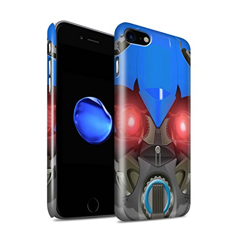 STUFF4 Glanz Snap-On Hülle / Case für Apple iPhone 8 / Multipack / Roboter Kollektion Bumble-Bot Blau