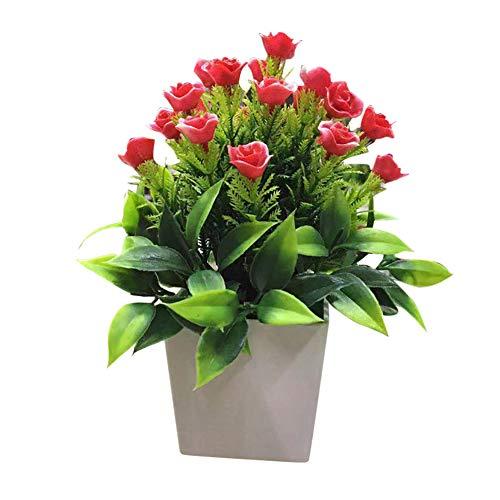 yosemite 1 stück topf künstliche blume helle farbe bonsai diy garten hochzeit home office party decor rot (Mittelstücke Für Geburtstagsfeiern Blume)