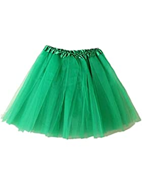 Rcool Mujeres Niña Tutu de Ballet de Capas de Organza de Encaje Mini Falda Colorido (talla única, Verde)