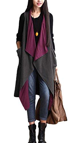 Vogue of Eden Women Oversized Lightweight Sleeveless Open Front Drape Cardigan (Lightweight Cardigan Open-front)