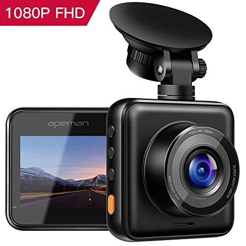 APEMAN 【Aktualisiert】 Dash Cam 1080P Full-HD-Mini-Dash-Kamera für Autorecorder Super Night Vision, 170 ° Weitwinkel, Bewegungserkennung, Parküberwachung, G-Sensor und Schleifenaufzeichnung