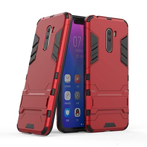 SANHENGMIAO COVER Für Xiaomi Handy Doppeldecker-Panzerabwehrschutz gegen Erdbebenschutz, geeignet für Hirse Pocophone F1 / Poco F1 (Farbe : Rot)