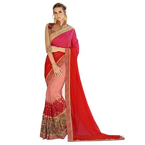 Triveni Damen Indisch Peach Bestickte Sati Net tywear Saree Mit ungeschnittener Bluse (Peach Rock Anzug)