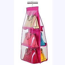 Kuber Industries 1 Piece Silk Handbag Storage Organiser, Pink (KI17195)